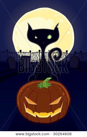 Halloween Blackcat with Pumkin