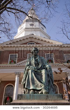 Bronze memorial statue of Roger Brooke Taney on grounds of the Maryland State House in Annapolis, MD. where the General Assembly convenes for three months a year.