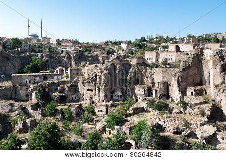 Guzelyurt village and the city underground in Cappadocia, Turkey