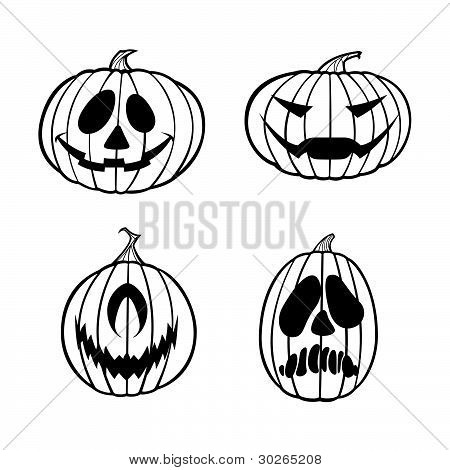 Vector Halloween Jack O Lanters (One Color)