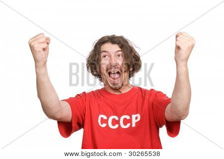 russian young man supporter, isolated on white