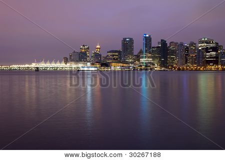 Vancouver Bc City Skyline At Dawn