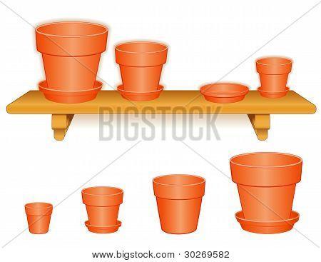 Flowerpots, Wood Shelf