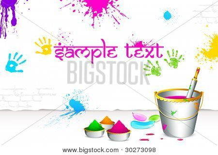 illustration of colorful spalsh on wall with bucket full of color and pichkari