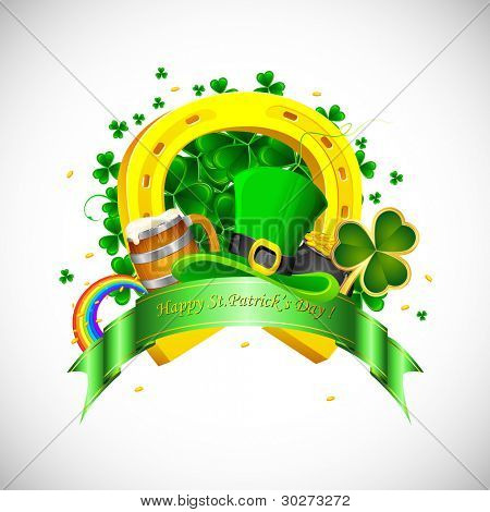 illustration of Saint Patrick's Day background with clover leaf and gold coin