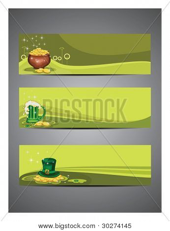 Vector illustration of three beautiful retro style headers set for St. Patrick's Day.