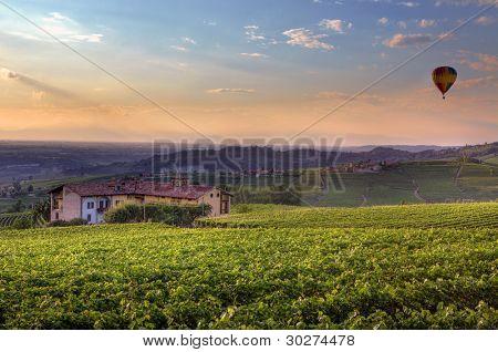 Ver colinas y viñedos bajo el cielo de bello colorido atardecer de Piamonte, norte de Italia.