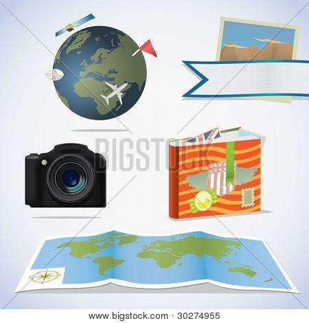 Travel icons. Camera, photo album, map and globe.