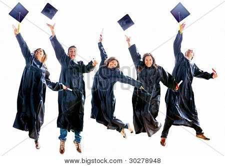 Group of excited people jumping in their gradutation throwing hats