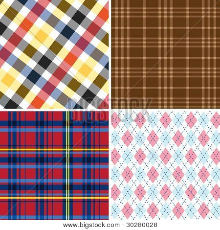 Collection of seamless Retro checked cotton pattern