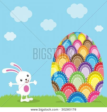Easter Bunny and Colorful Painted Egg