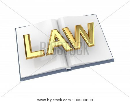 Opened book with golden word LAW.