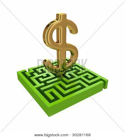Laberinto verde y oro signo de dólar.