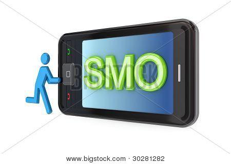 Modern mobile phone with big word SMO.