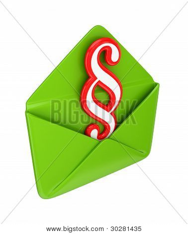 Red paragraph sign and green envelope.