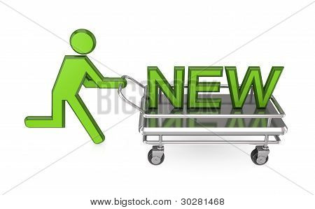3d small person with a pushcart and big word NEW.