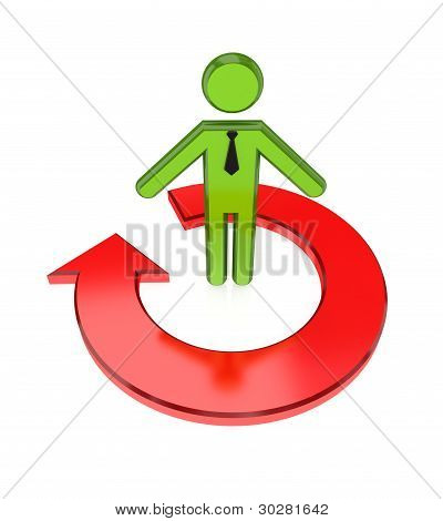 3d small person and red round arrow.