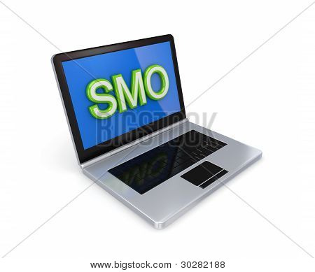 Modern notebook with a big word SMO on a screen.