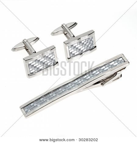 Silver Cuff Links And Tie Pin Isolated On White