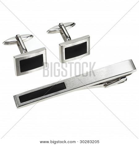 Set Of Silver Cuff Links And Tie Pin Isolated On White