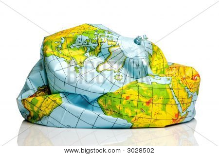 Deflated Planet Earth Balloon