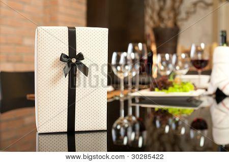 Gift In Romantic Dinner