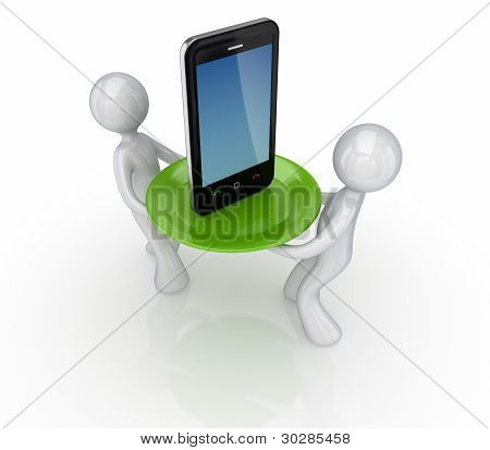 3d small people and modern mobile phone