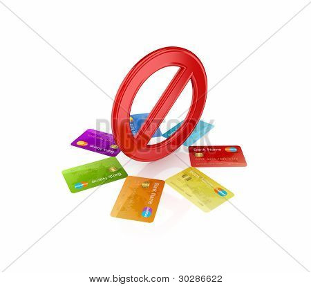 Colorful credit cards around red stop symbol.