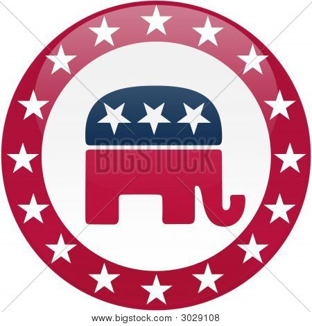 Republican Button - White And Red