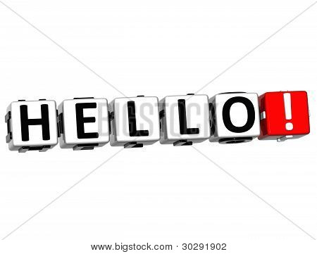 3D Hello Block Text On White Background