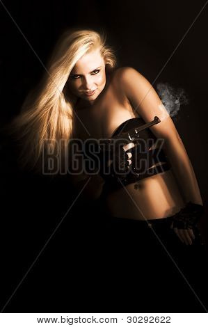 Girl Holding Smoking Gun