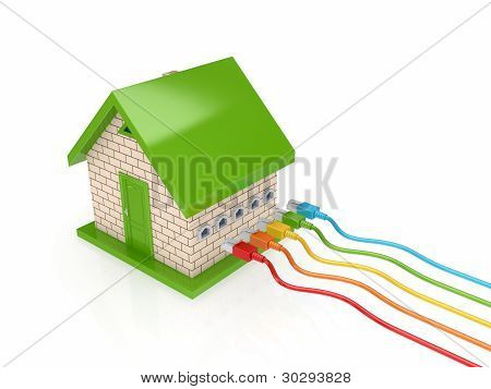 Colorful patch cords and small house.