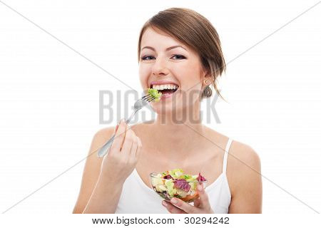 Woman Eating Salad Isolated