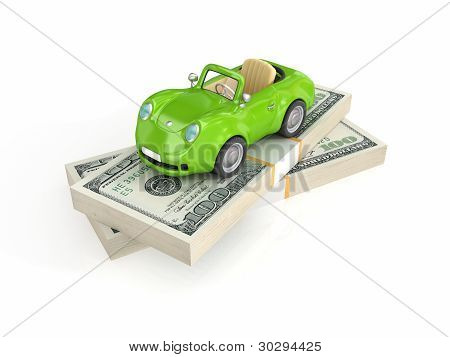 Small green car and dollar packs.