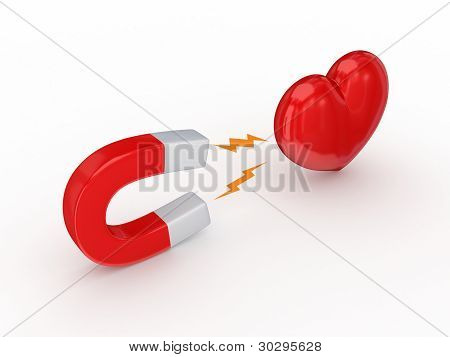Magnet and red heart.