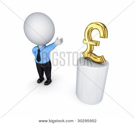 3d small person and pound sterling sign.