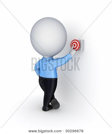 3d small person pushing a red button.