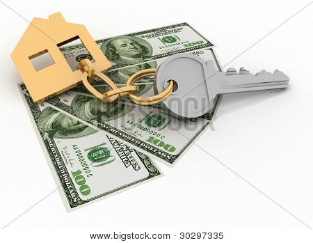 house key and dollars on the white background