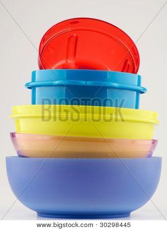 Pyramid of Colorful plastic bowls