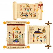 Ancient Egypt Papyrus Scroll Cartoon Vector Collection With Hieroglyphs And Egyptian Culture Religio poster