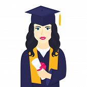 Young Girl University Graduate In Graduation Cap With Tassel And Gown Holds In Her Hand A Rolled Up  poster