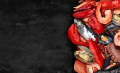 Seafood Background And Fresh Shellfish Food As Lobster Steamed Clams Mussels Shrimp And Crab Sardine poster