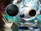Surreal composition. Armageddon. Asteroids destroy planets. Angels fly in the sky. Opened wormhole t poster