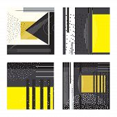 Trendy Set Of Geometric Elements Memphis Cards. Geometric Style Texture, Pattern And Geometric Eleme poster