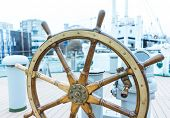 The Ships Helm, Ship rudder, The Steering Wheel is Still Ready to Work, Vintage Wooden And Brass Sh poster