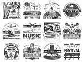 Music Recording Studio Label, Karaoke Bar And Jazz Festival Icons. Vector Music Band Instruments, Cl poster