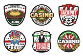 Poker Club Signs, Casino Gambling Game Icons. Vector Symbols Of Casino Croupier With Gamble Cards, W poster