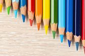 Set Of Colored Pencils. Colors Of Rainbow. Colored Pencils For Drawing Different Colors On A Light B poster