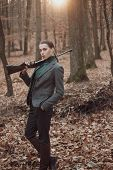 Successful Hunt. Hunting Sport. Girl Hunter In Forest. Girl With Rifle. Chase Hunting. Gun Shop. Mil poster