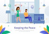 Woman Shouting At Man Who Plays Video Games And Sits On Sofa In Living Room Banner Vector Illustrati poster